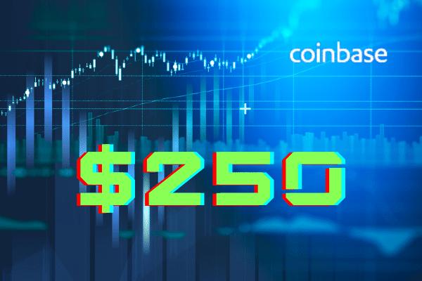 coinbase listing price 250