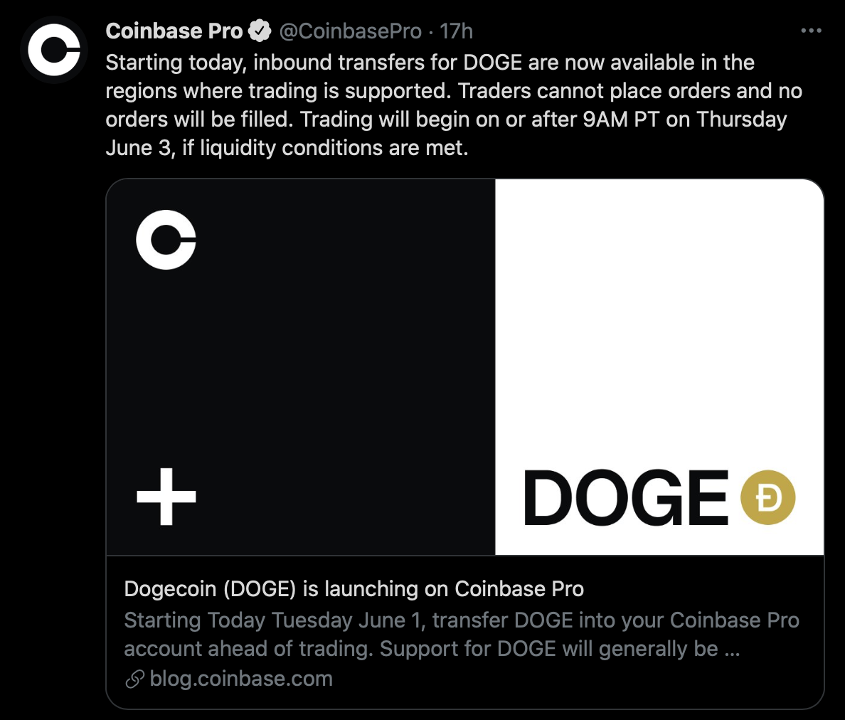 coinbase tweet Doge